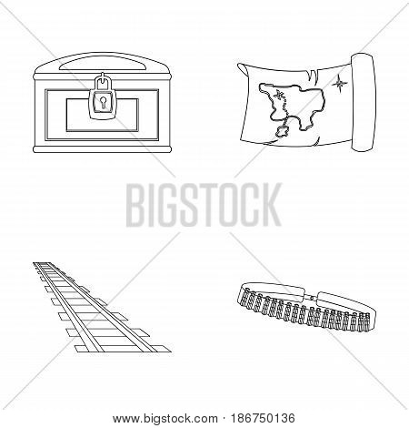 Treasure map, chest, rails, patrol.Wild west set collection icons in outline style vector symbol stock illustration .