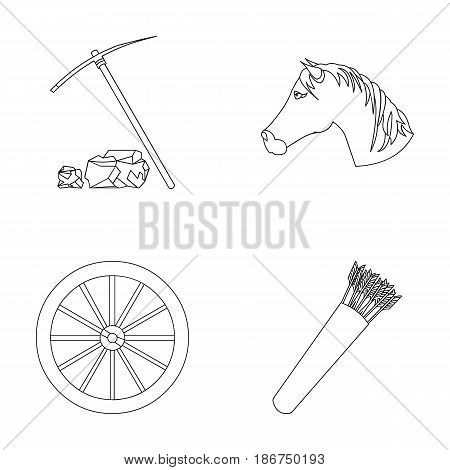 Pickax hoe, horse head, wheel cart, quiver with arrows.Wild west set collection icons in outline style vector symbol stock illustration .