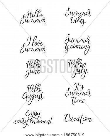 Set Of Summer Calligraphy. Vacation Quotes, Phrases And Words. Handwritten