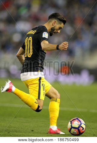 BARCELONA, SPAIN - MAY, 6: Yannick Ferreira Carrasco of Atletico de Madrid during a Spanish League match against RCD Espanyol at the RCDE Stadium on May 6 2017 in Barcelona Spain