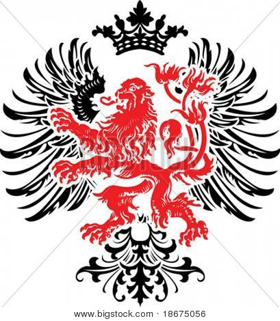 Black Red Decorative Heraldry Ornate Banner. Vector Illustration.