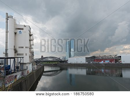 FRANKFURT, GERMANY-MAY 15, 2017: The Eastern Harbor with the new building of the European Central Bank in Frankfurt, Germany
