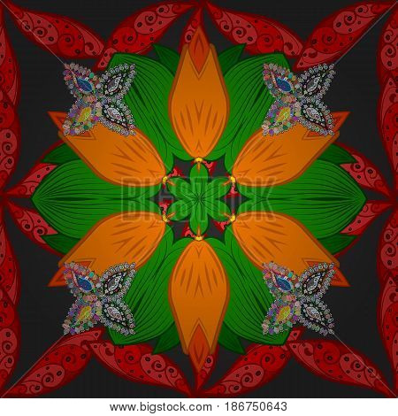 Vector abstract stylized colored mandala. Intricate colored Arabesque with on a gray background.