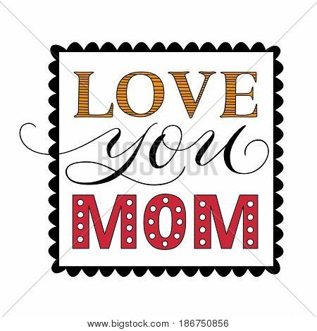 Happy Mothers Day congratulatory square template with elegant calligraphic light lettering isolated vector illustration