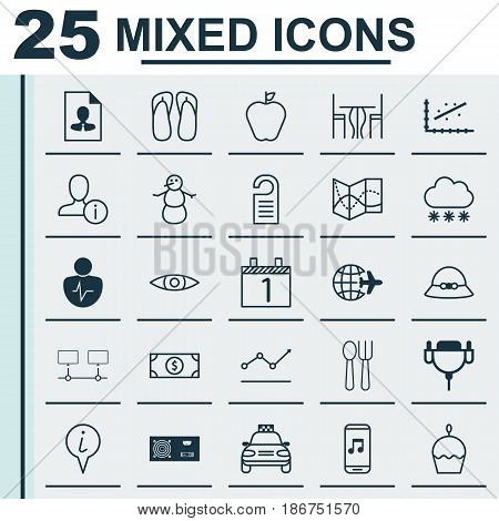 Set Of 25 Universal Editable Icons. Can Be Used For Web, Mobile And App Design. Includes Elements Such As Personal Character, Road Map, Glance And More.