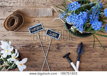 Two Signs With English Text Garden Sale. Spring Flowers Like Grape Hyacinth And Crocus. Gardening Tools Like Rake And Shovel. Hemp Fabric Ribbon. Aged Wooden Background