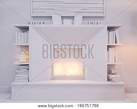 3d illustration of the interior design of the living room. The interior style of the apartment is modern. Render without textures and materials with a ethanol bio fireplace and bookshelves