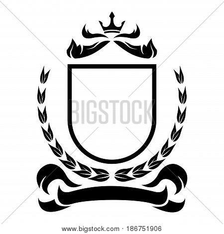 decorative shield crown ribbon heraldry victorian elegant frame vector illustration