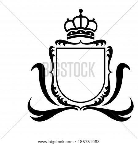 decorative shield crown heraldry victorian elegant frame vector illustration