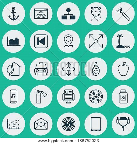 Set Of 25 Universal Editable Icons. Can Be Used For Web, Mobile And App Design. Includes Elements Such As Taste Apple, Vga Cord, Taxi And More.