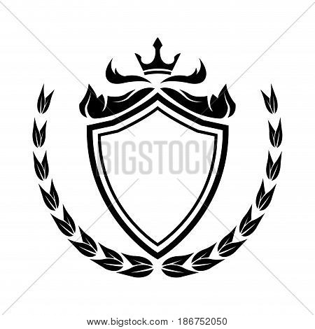 decorative shield crown laurel heraldry victorian elegant frame vector illustration