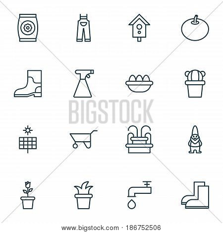 Set Of 16 Planting Icons. Includes Dwarf, Desert Plant, Wheelbarrow And Other Symbols. Beautiful Design Elements.