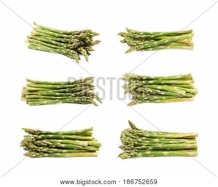 Pile of multiple cultivated green asparagus spears isolated over the white background, set of six different foreshortenings