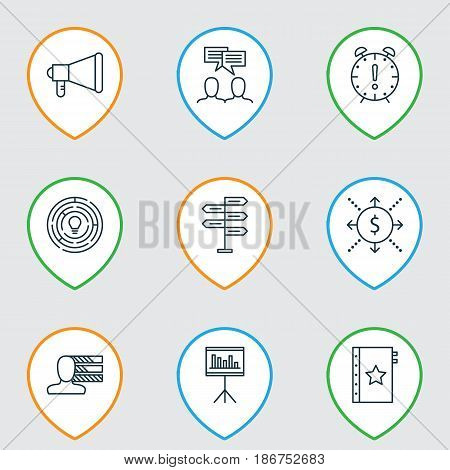 Set Of 9 Project Management Icons. Includes Presentation, Discussion, Time Management And Other Symbols. Beautiful Design Elements.