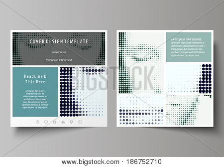 Business templates for square design brochure, magazine, flyer, booklet or annual report. Leaflet cover, abstract flat layout, easy editable vector. Halftone dotted background, retro style grungy pattern, vintage texture. Halftone effect with black dots o