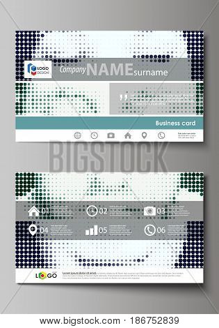 Business card templates. Easy editable layout, abstract vector design template. Halftone dotted background, retro style grungy pattern, vintage texture. Halftone effect with black dots on white