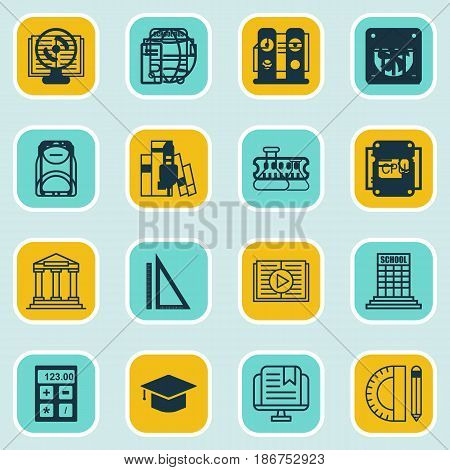 Set Of 16 School Icons. Includes E-Study, Taped Book, Education Tools And Other Symbols. Beautiful Design Elements.