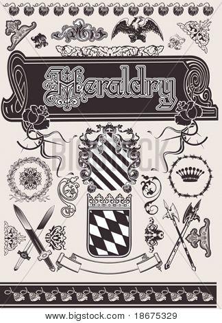 Vector Set Heraldry. Elements For Page Ornate Design.