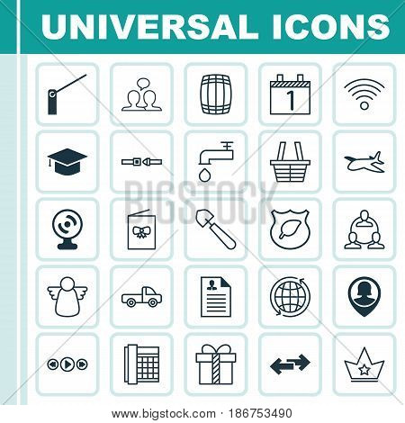 Set Of 25 Universal Editable Icons. Can Be Used For Web, Mobile And App Design. Includes Elements Such As World, Navigation Arrows, Corona And More.
