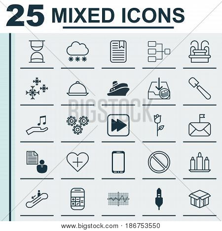 Set Of 25 Universal Editable Icons. Can Be Used For Web, Mobile And App Design. Includes Elements Such As Star Snow, Mechanism Parts, Wax And More.