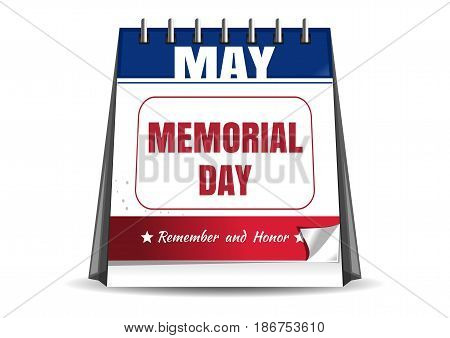 Memorial Day calendar. Remember and honor. Federal holiday in the United States. Vector illustration isolated on white background