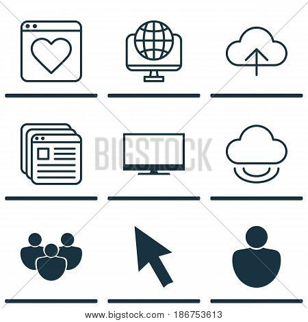 Set Of 9 Online Connection Icons. Includes Data Synchronize, Mouse, Computer Network And Other Symbols. Beautiful Design Elements.