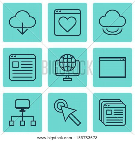 Set Of 9 World Wide Web Icons. Includes Cursor Tap, Followed Website, Save Data And Other Symbols. Beautiful Design Elements.