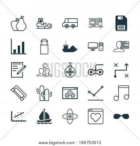 Set Of 25 Universal Editable Icons. Can Be Used For Web, Mobile And App Design. Includes Elements Such As Joystick, Tree Toy, Diskette And More.