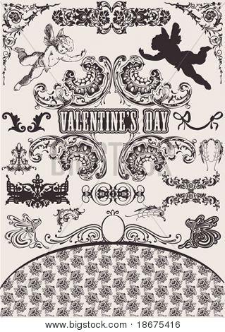 Vector set. Valentine's Design Elements. Elements For Page Decoration