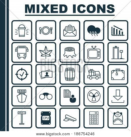 Set Of 25 Universal Editable Icons. Can Be Used For Web, Mobile And App Design. Includes Elements Such As Security Scanner, Cutlery, Lorry Birthday And More.