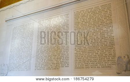 Lincoln Memorial - Speech of Abraham Lincoln carved in stone - WASHINGTON DC - COLUMBIA