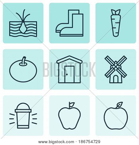 Set Of 9 Agriculture Icons. Includes Taste Apple, Mill, Radish And Other Symbols. Beautiful Design Elements.