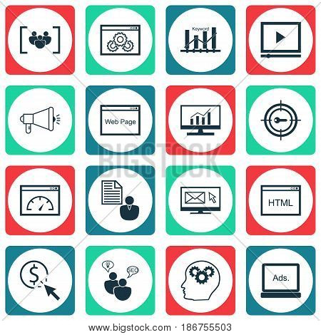 Set Of 16 Marketing Icons. Includes Website, Keyword Marketing, Questionnaire And Other Symbols. Beautiful Design Elements.