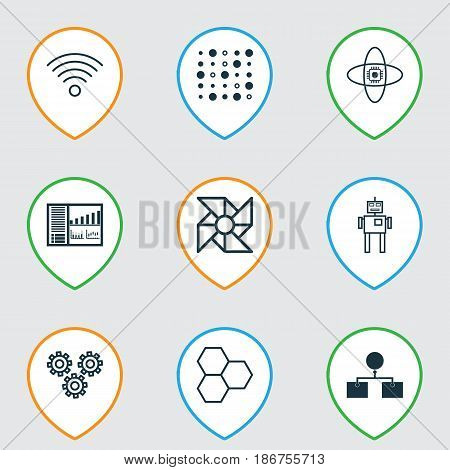 Set Of 9 Machine Learning Icons. Includes Information Components, Variable Architecture, Cyborg And Other Symbols. Beautiful Design Elements.