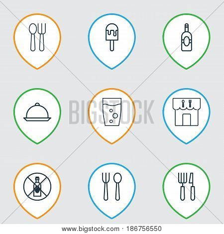 Set Of 9 Cafe Icons. Includes Dining, Eating House, Soda Drink And Other Symbols. Beautiful Design Elements.