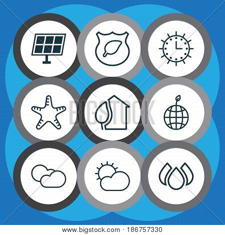 Set Of 9 Eco Icons. Includes Aqua, World Ecology, Clear Climate And Other Symbols. Beautiful Design Elements.