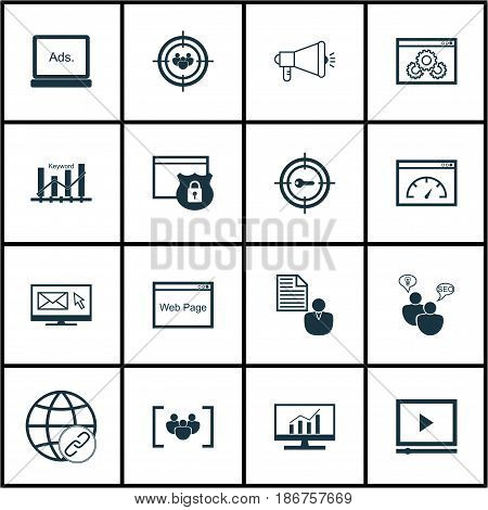 Set Of 16 Advertising Icons. Includes Keyword Marketing, Search Optimization, Questionnaire And Other Symbols. Beautiful Design Elements.