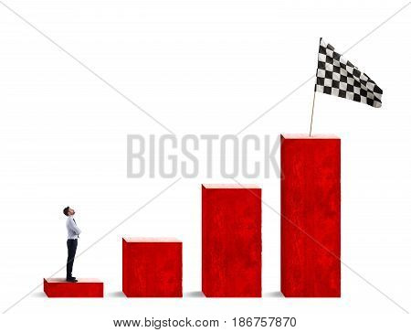 Businessman looks at the flag from the bottom of the statistic