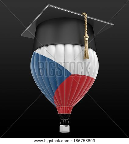 3d Illustration. Hot Air Balloon with Czech Flag and Graduation cap. Image with clipping path