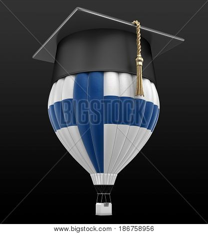 3d Illustration. Hot Air Balloon with Finnish Flag and Graduation cap. Image with clipping path