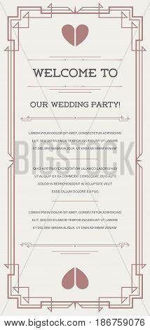 Invitation in Art Deco or Nouveau Epoch Style Vector