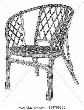 Armchair Bamboo Wooden Handmade Isolated Illustration Vector