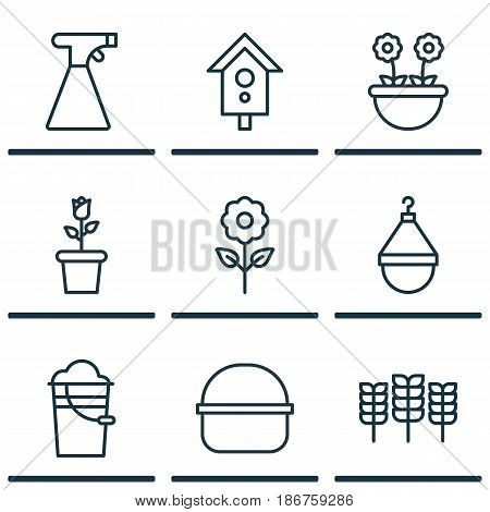 Set Of 9 Plant Icons. Includes Package, Bucket, Wheat And Other Symbols. Beautiful Design Elements.