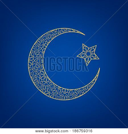 Crescent moon and star on blue background.