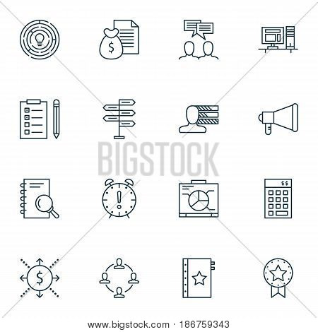Set Of 16 Project Management Icons. Includes Investment, Announcement, Personal Skills And Other Symbols. Beautiful Design Elements.