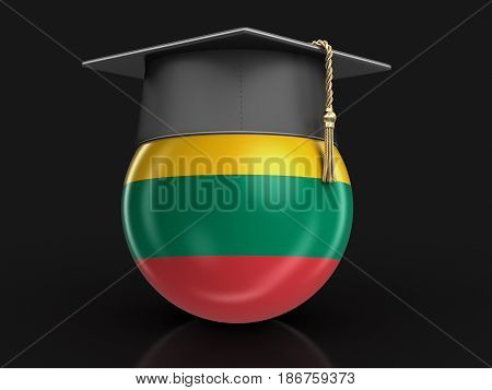 3d Illustration. Graduation cap and Lithuanian flag. Image with clipping path