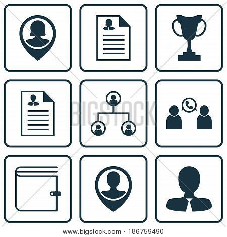 Set Of 9 Management Icons. Includes Tournament, Manager, Curriculum Vitae And Other Symbols. Beautiful Design Elements.