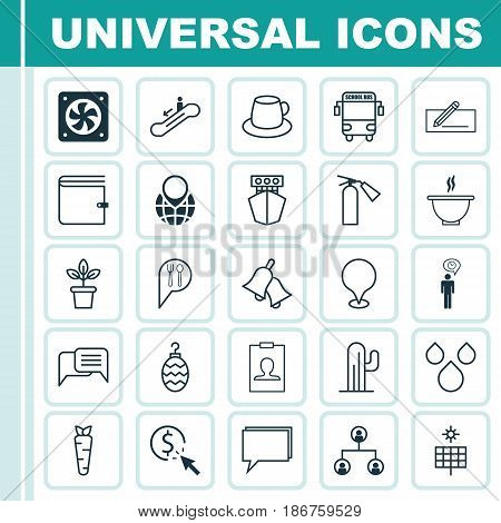 Set Of 25 Universal Editable Icons. Can Be Used For Web, Mobile And App Design. Includes Elements Such As Flowerpot, Conference, Escalator Down And More.