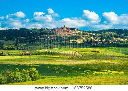 Casale Marittimo old stone village in Maremma skyline and countryside landscape. Pisa Tuscany Italy Europe.