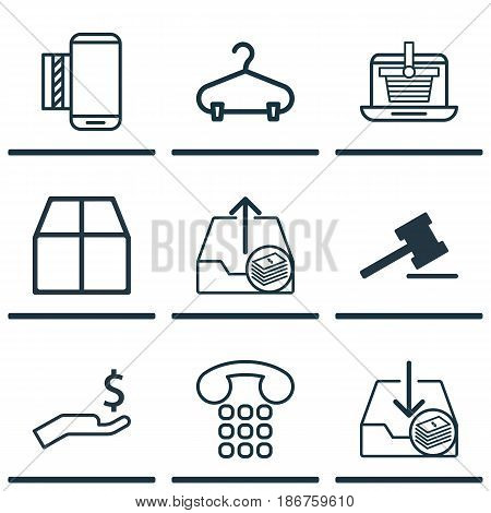 Set Of 9 Ecommerce Icons. Includes Withdraw Money, Gavel, Outgoing Earnings And Other Symbols. Beautiful Design Elements.